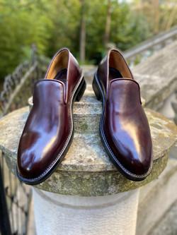 Horsehide burgundy slipper loafer 12