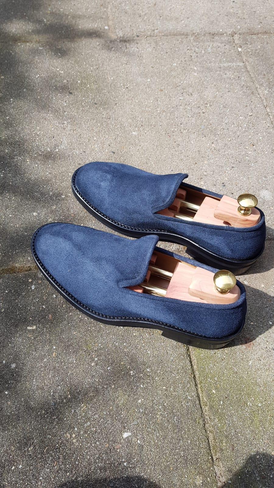 Blue nappa roughout slipper 6