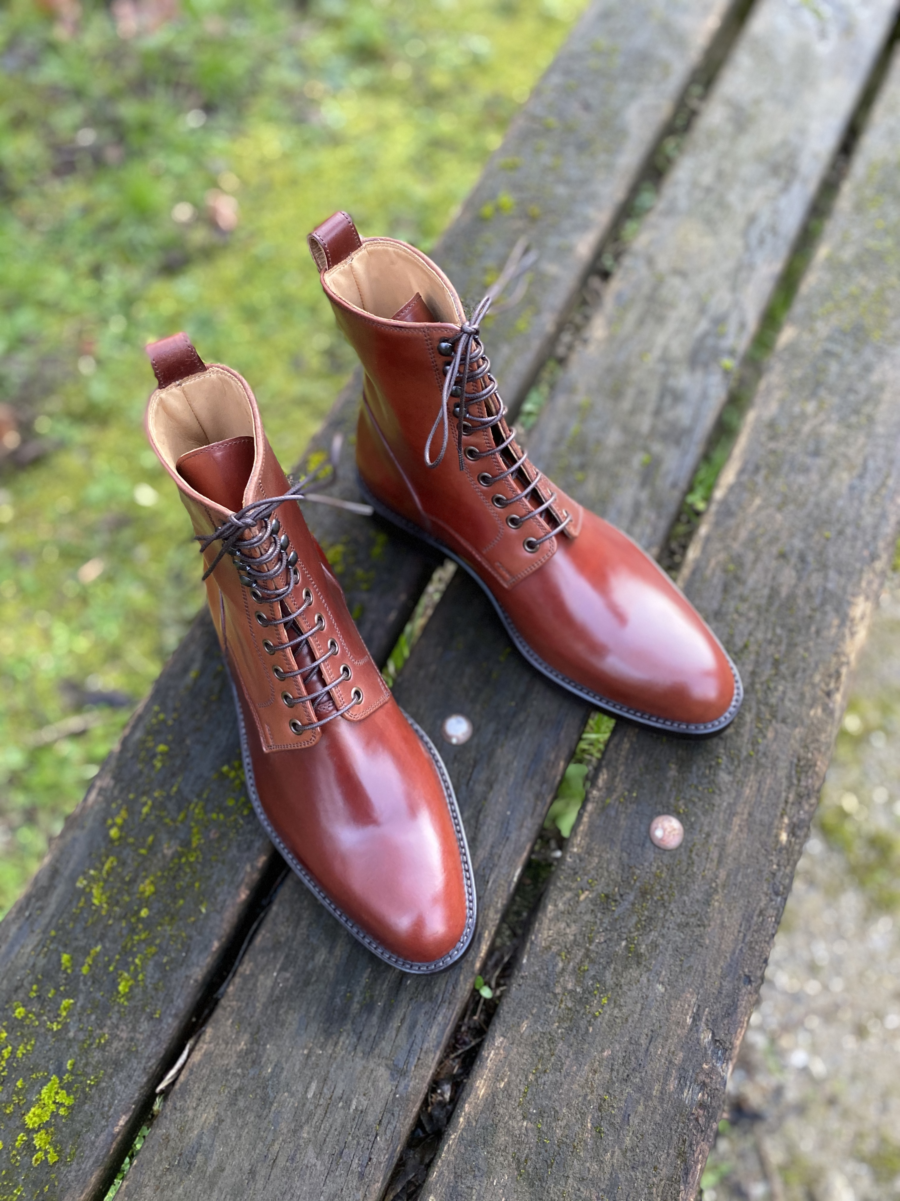 Plain toe Horween shell cordovan boots col.4 11