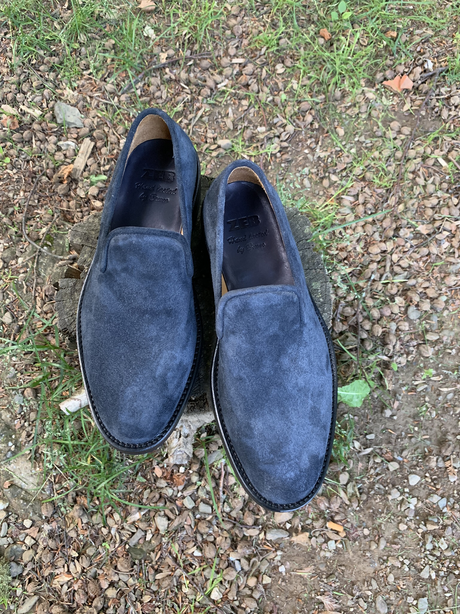 Blue nappa roughout slipper 4