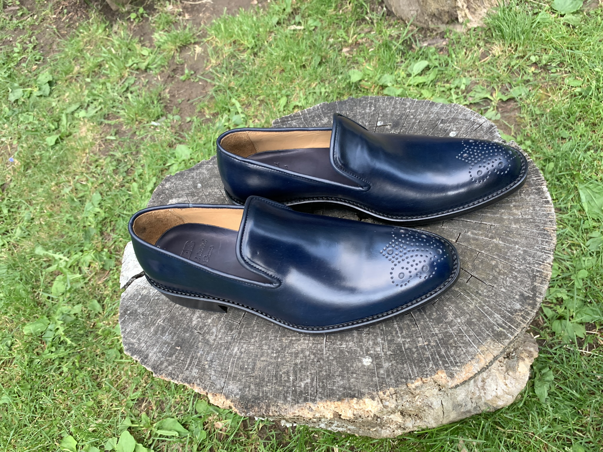 Navy Horween shell cordovan slipper 2