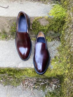 Horsehide burgundy slipper loafer 9