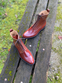 Plain toe Horween shell cordovan boots col.4 5
