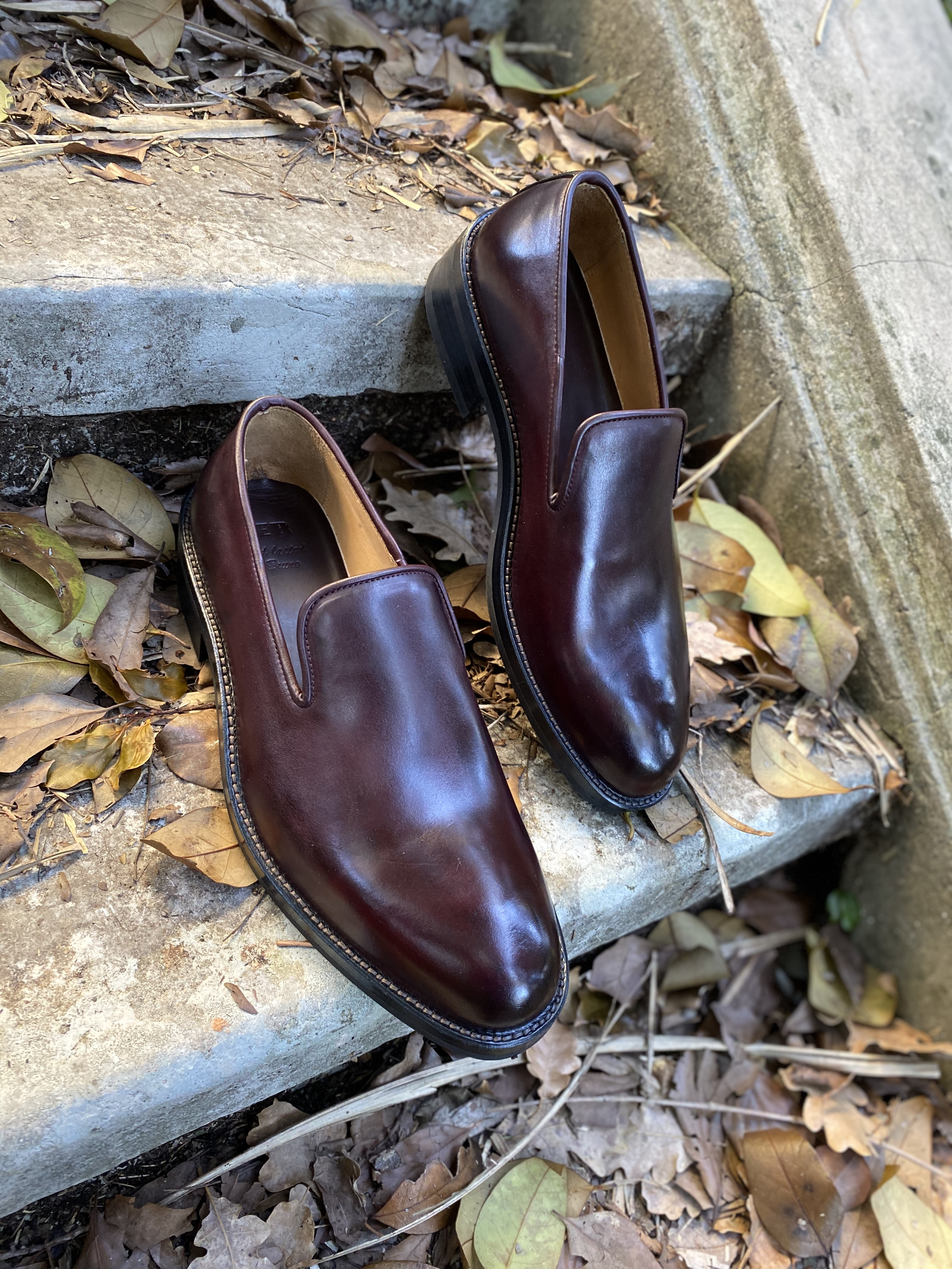 Horsehide burgundy slipper loafer 14