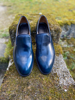 Navy Horween shell cordovan slippers loafers 2