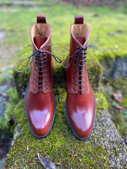 Plain toe Horween shell cordovan boots col.4