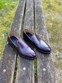 Horsehide burgundy slipper loafer 7