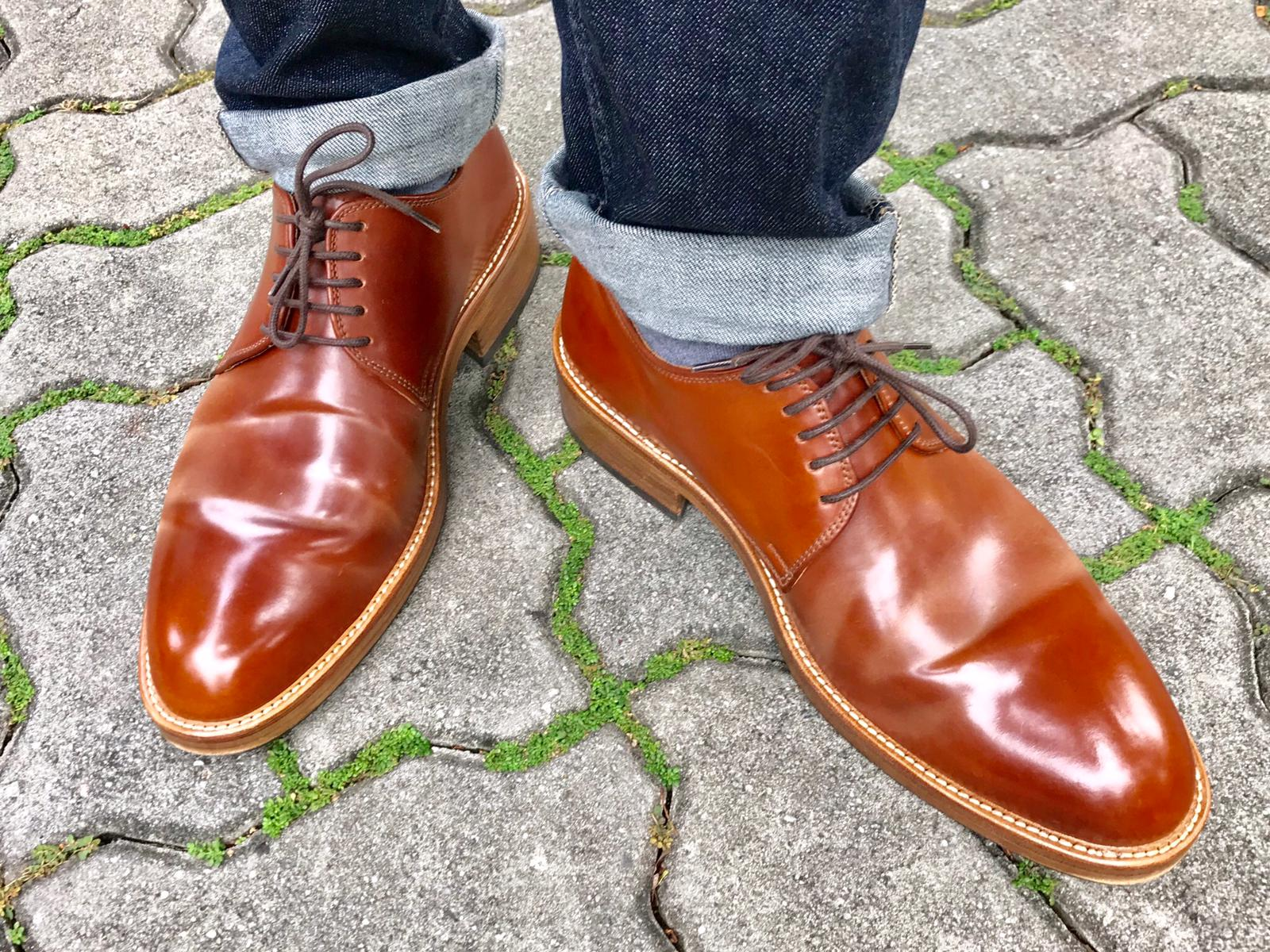 Amaretto Horween shell cordovan derbies