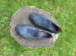 Blue nappa roughout slippers