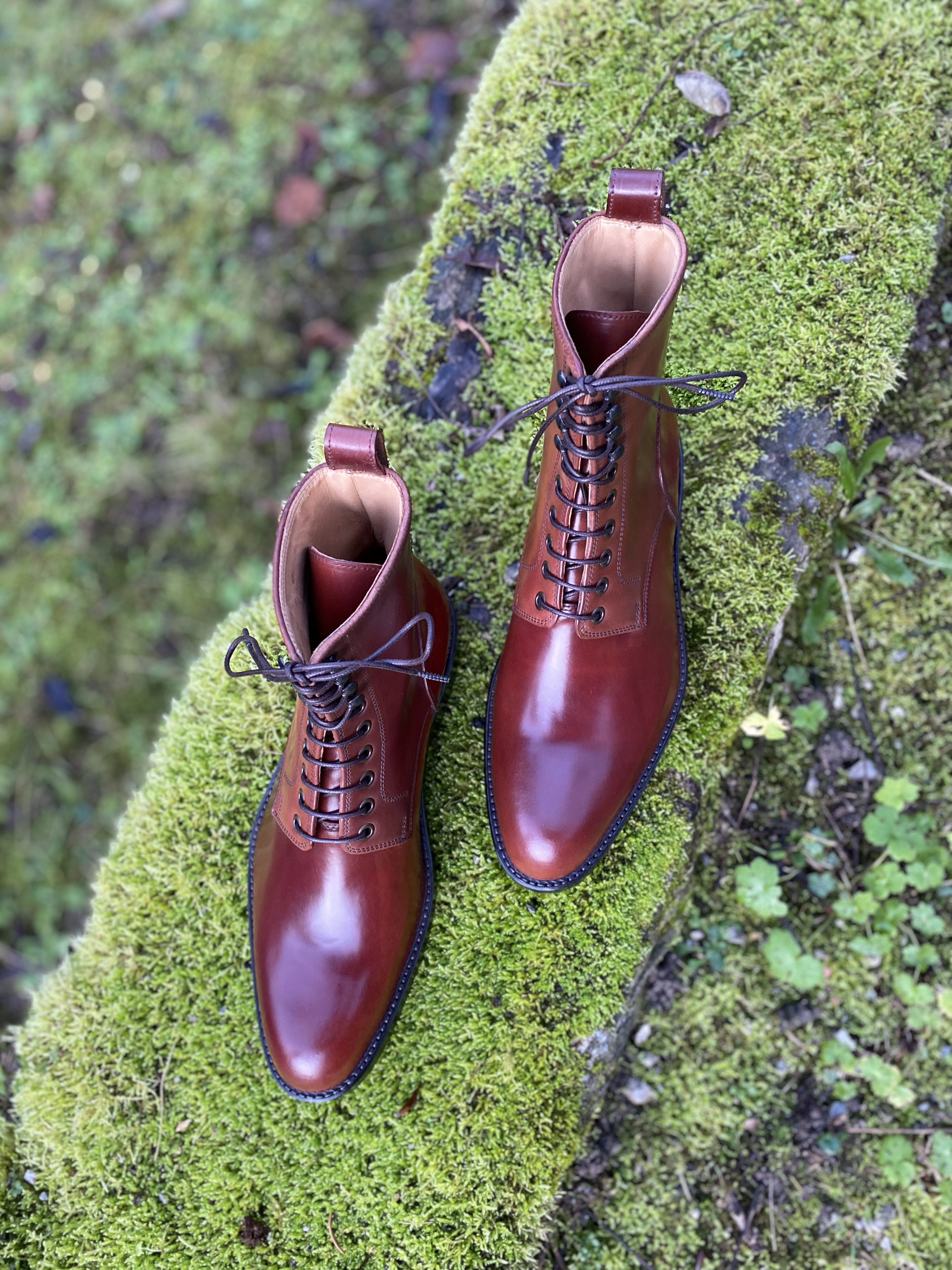 Plain toe Horween shell cordovan boots col.4 10