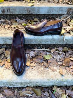 Horsehide burgundy slipper loafer 13