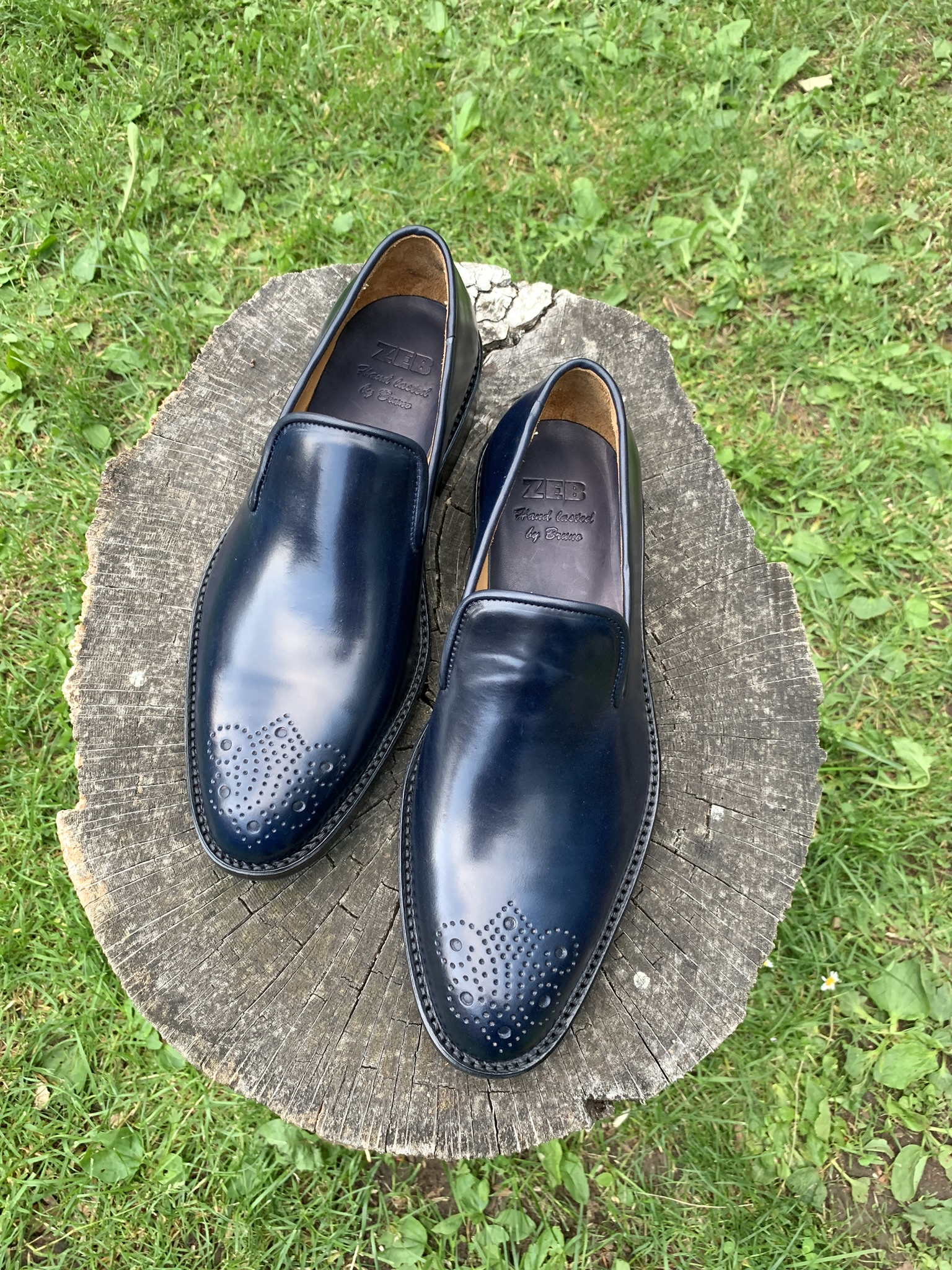 Navy Horween shell cordovan slipper
