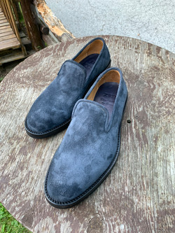 Blue nappa roughout slipper 2