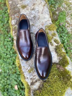 Horsehide burgundy slipper loafer 4