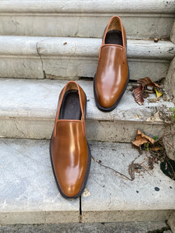 Bourbon Horween shell cordovan slippers loafers