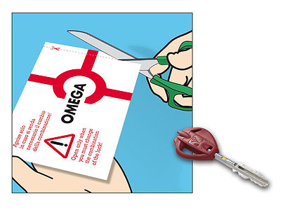 serratura omega plus cambio di combinazione chiave con inserto giallo