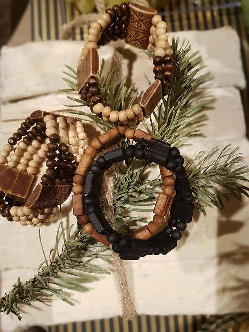 Bracelets en bois naturel pour hommes et femmes