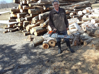 Craig is cutting wood for heating the house, cabins and the cottage as well as camp fire wood. I thi
