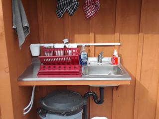 Outdoor dishwashing station