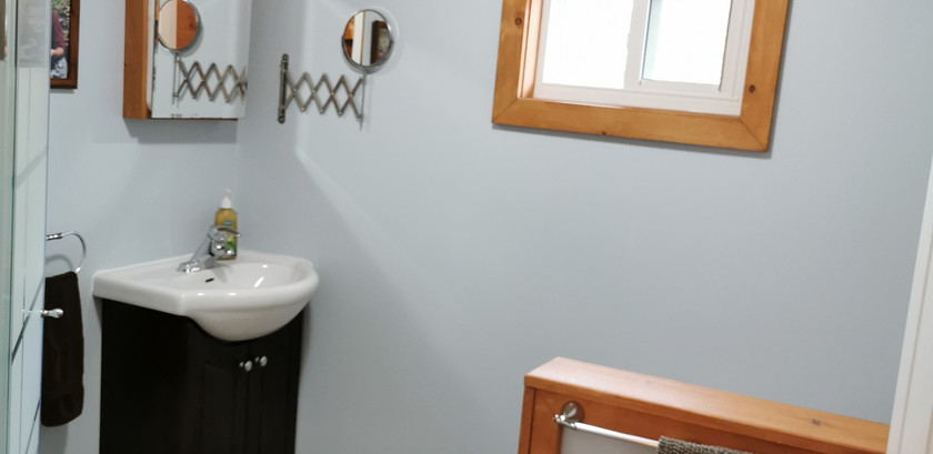 Bathroom, toilet behind part wall