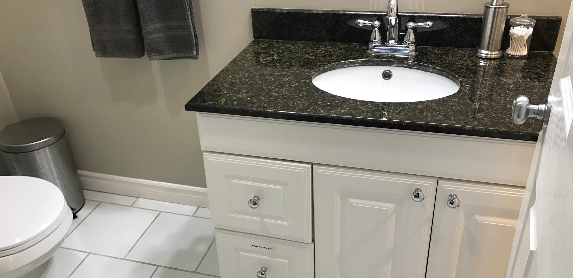 Sink, hand dryer in drawer