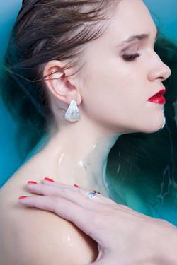 silver sea urchin earrings