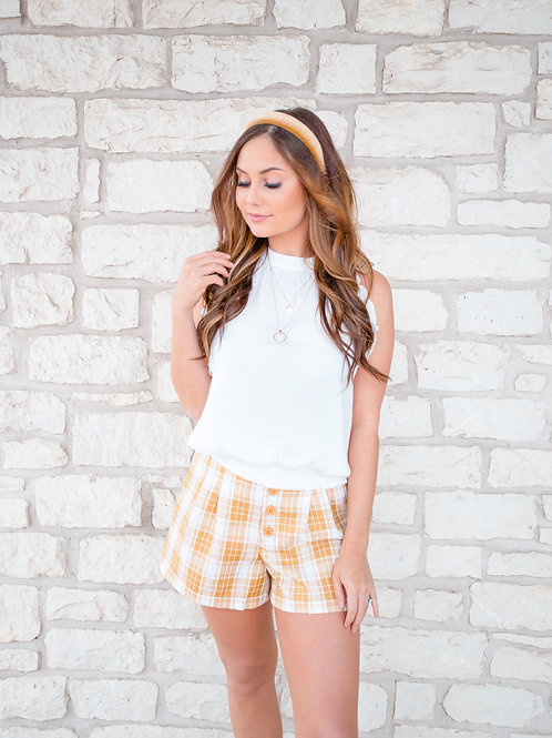 Summer Love Yellow Plaid Shorts