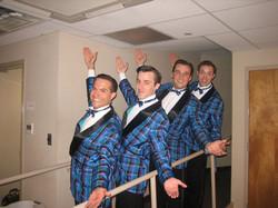 "JMC, Andrew Mueller, Brandon Springman and Alex Goodrich as The ""Ragg Mopp"" singers in FOR THE BOYS."