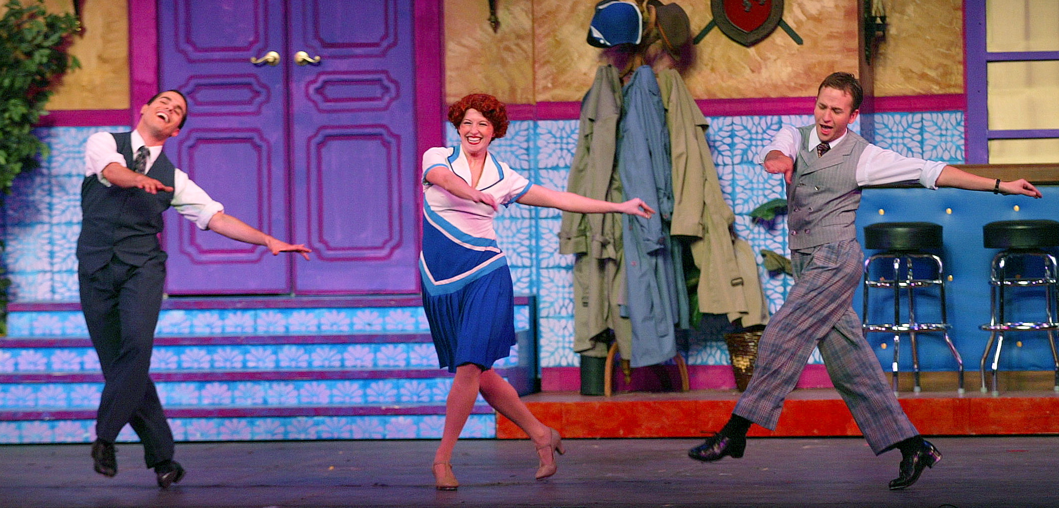 "JMC as Don, Cheryl Galaga as Kathy and Courter Simmons as Cosmo in ""Singin' in the Rain"" - Hofstra G"