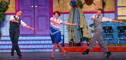 """JMC as Don, Cheryl Galaga as Kathy and Courter Simmons as Cosmo in """"Singin' in the Rain"""" - Hofstra G"""