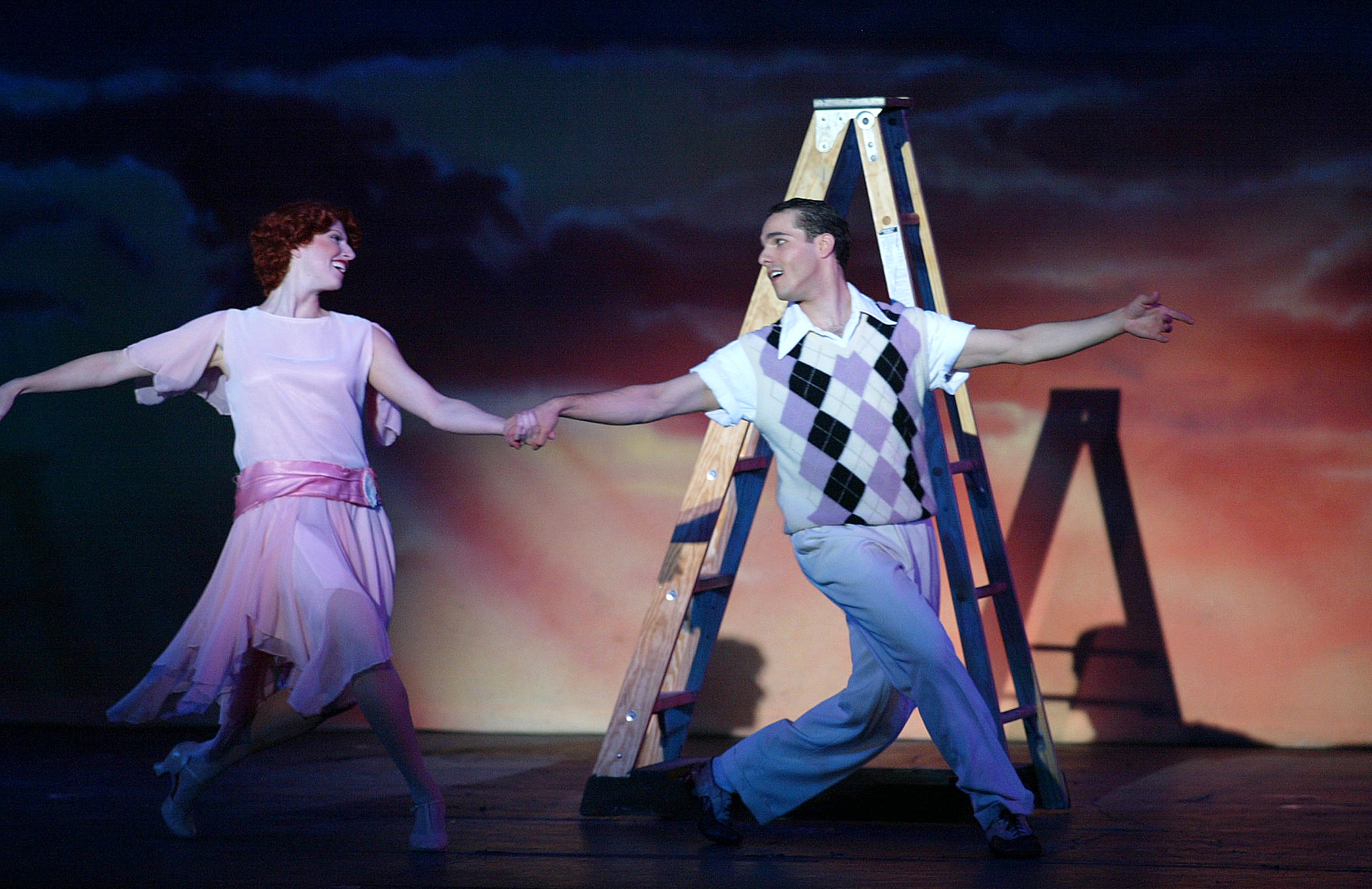 "JMC as Don Lockwood and Cheryl Galaga in ""Singin' in the Rain"" - Hofstra Grey Wig Productions."
