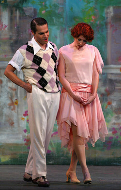 "JMC as Don Lockwood and Cheryl Galaga in ""Singin' in the Rain"" - Hofstra Grey Wig Productions."