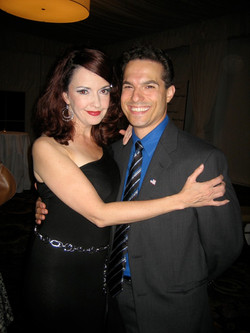 """JMC and Michelle Ragusa on opening night of Marriott Theatre's """"For the Boys""""."""