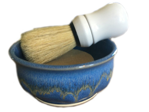 shaving soap with dish and brush