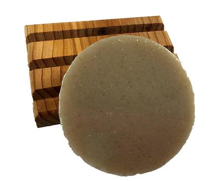 cedar soap dish & shaving soap