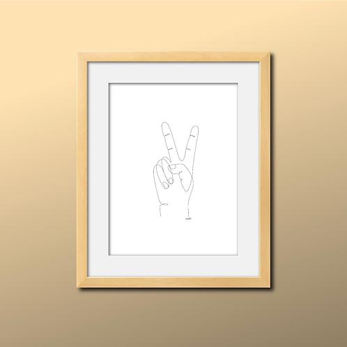 Single Line Peace Hand Print