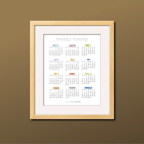 Watercolor Month 2020 Calendar