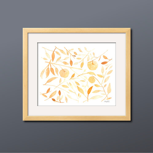 Monochrome Orange Apple Watercolor Print