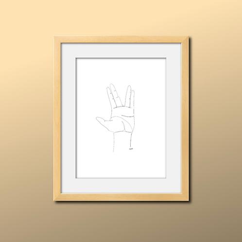 Single Line Vulcan Hand Print
