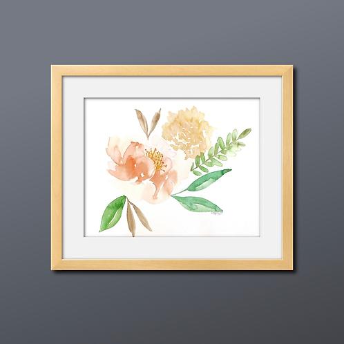 Peach-Pair Floral Watercolor Print