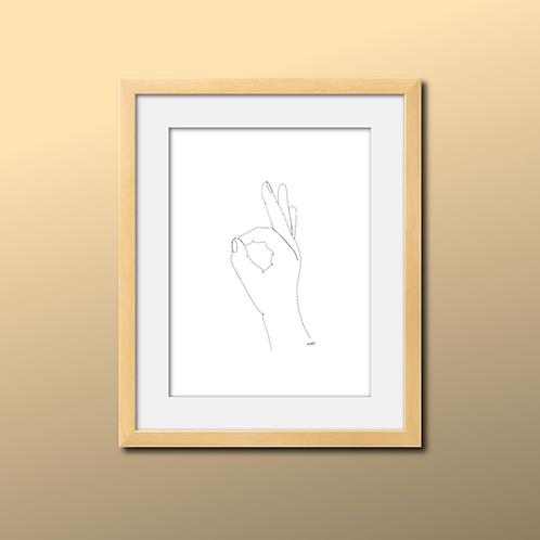 Single Line Okay Hand Print
