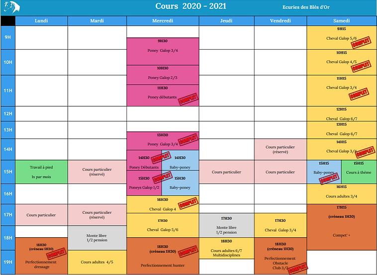 Planning cours 2020 2021 écuries des blés d'or savoie