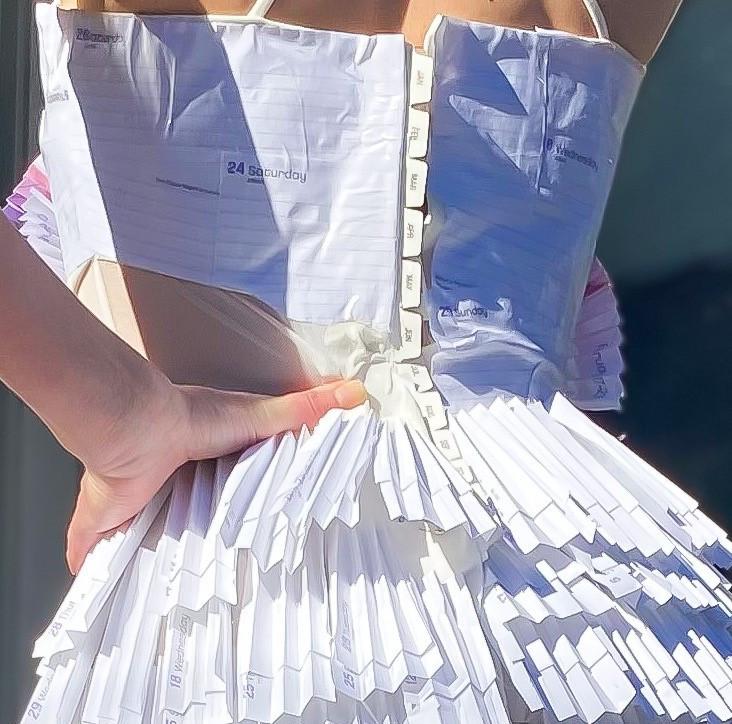 A closeup of the corset lining