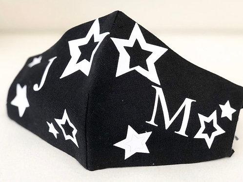Mascarilla Negra Estrellas Blanca