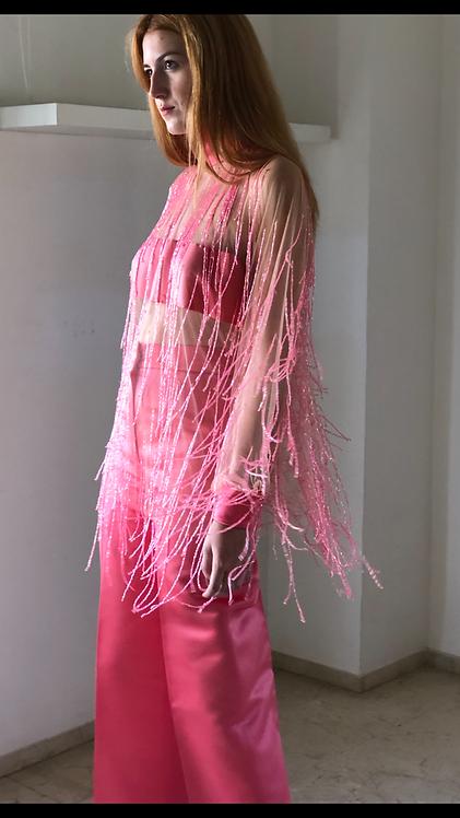 Camisa de flecos de cristal rosa