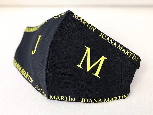Mascarilla Negra Juana Martín Amarillo niñ@s