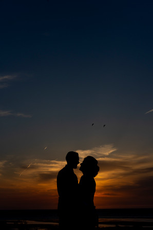sunset at hunstanton on wedding day