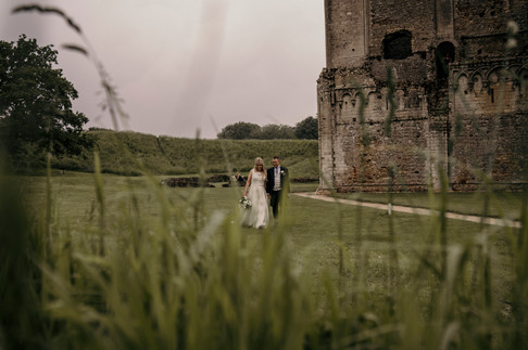 Jacqui and Michael take walk in Castle Rising, Kings Lynn after getting married