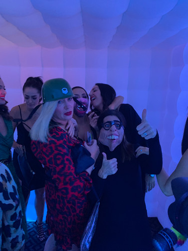 Guests having fun in the photo booth
