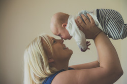 Eskimo kiss for mum and son